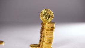 Slow Motion Crumbling Coins Created As Cryptocurrency Bitcoin stock video footage