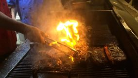 Slow-Motion de Grill van de lapje vleesbrand stock video