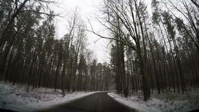 Slow motion driving through forest road. Windscreen view on slow motion driving through forest winding road during snow bad winter weather stock video footage