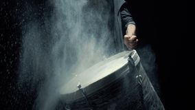 Slow motion dummer. game on a dusty drum close up stock video footage