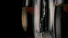 Slow motion. In an empty glass to pour the champagne stock video