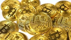 Slow Motion Falling Bitcoin Model Created As Popular Currency stock video footage