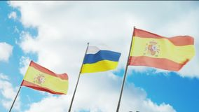Slow motion Flags of Spain and the Canary Islands. Flags of Spain and the Canary Islands are slow fluttering in the wind stock video footage