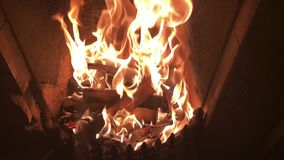 Slow motion - flames in a fireplace stock video footage