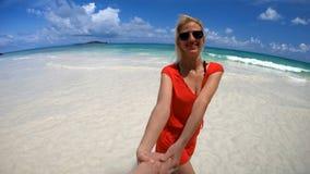 Follow me in Seychelles stock footage