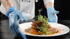 Slow motion food video concept. Chef hands in gloves put white plate with delicious seafood dish in luxury restaurant stock video footage