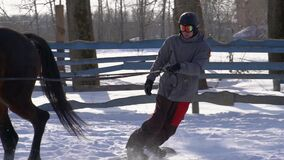 SLOW MOTION : A girl galloping on a horse at a gallop. A horse is dragging a snowboarder guy on a rope. A snowboarder rides on a snowboard in snowdrifts. Girl stock video