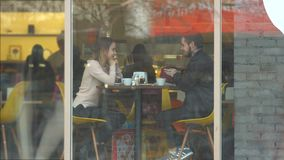 A young couple on a city street. stock footage