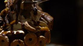 Slow Motion of Hand Using Spoon Eating Frappe Whipped Cream with chocolate. stock video footage