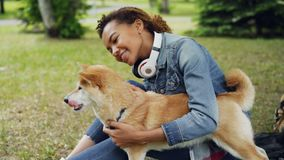 Slow motion of happy mixed race girl patting beautiful domestic dog sitting on lawn in park while glad animal is licking