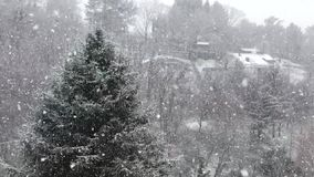 Slow motion of a heavy snow fall stock footage