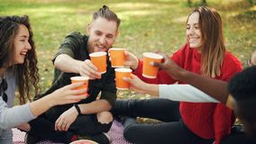Slow motion of joyful girls and guys friends clinking glasses during picnic in park, young people are talking and. Slow motion of joyful girls and guys friends stock video