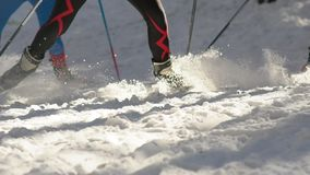 Slow-motion. The legs of skiers. Ski poles and cross-country skiing.