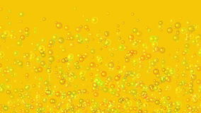 Slow motion of many lifting transparent air bubbles on orange backgrounds stock footage