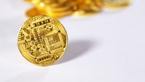 Slow Motion Moving Coin Created As Bitcoin Cryptocurrency stock video footage