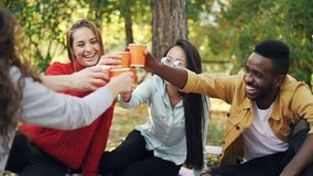 Slow motion of multiracial group of students talking and laughing clinking glasses with drinks having good time during. Picnic in park in autumn. Friendship stock video
