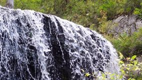 Slow motion natural beauty waterfall, view of nature. 3840x2160. Slow motion natural beauty virgen waterfall, view of nature. Beautiful slowmo of river cascades stock video