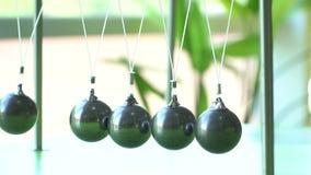 Slow motion. Newton's cradle: a pendulum with swinging metal spheres stock video footage
