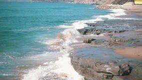 Slow motion Ocean Waves Breaking on Shore stock video