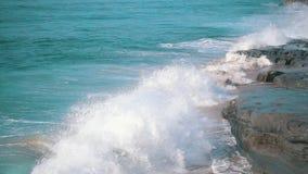 Slow motion Ocean Waves Breaking on Shore stock video footage