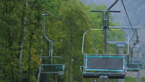Slow Motion Open Empty Cable Car Cabins Coming  up stock video