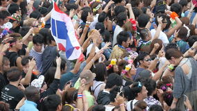 Slow Motion Pan of Large Crowd at Electronic Music Festival Tokyo Japan stock video