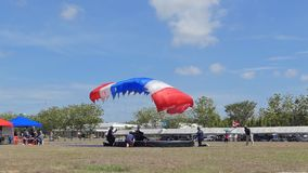 Slow Motion of Parachutist was landing in to the target, Accuracy Landing, stock footage