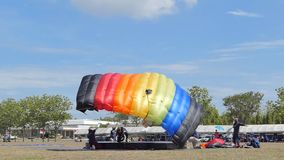 Slow motion of Parachutist was landing in to the target, Accuracy Landing,. In during Thai Army Parachuting Competition 2019 on June 15, 2019 in Lopburi stock video