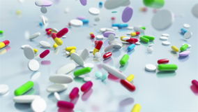 Slow motion Pill Capsules Falling stock footage