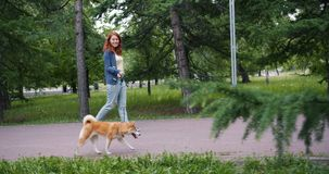 Slow motion of pretty woman walking shiba inu dog in park on summer day