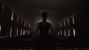 SLOW MOTION: prima ballet rehearses a solo performance standing on the stage of the theater in smoke in a black dress in