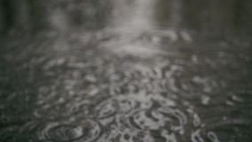 Slow motion. Raindrops in a puddle on the sidewalk stock video