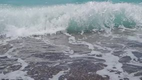 Slow motion of the sea wave. Sea wave on the coast of the sea full HD 1920x1080 30p. Slow motion stock video