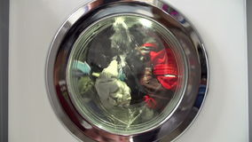 Slow Motion Sequence Of Laundry In Washing Machine stock video