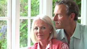 Slow Motion Sequence Of Romantic Middle Aged Couple stock footage