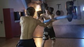 Slow-motion shooting cropped frame, the boxer trains with his coach, fulfills the speed and accuracy of the impact. Boxing Gym training of sportsmen against stock video