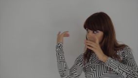Slow motion shot of a beautiful female dancer dancing in the studio stock video