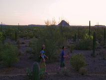 Slow Motion Shot of Desert Hikers at Sunset stock video