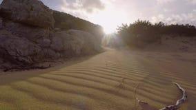 Slow motion shot of sand. Slow motion shot floating above sand stock video