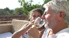 Slow Motion Shot Of Mature Couple Drinking Wine Together. Slow motion sequence of mature couple drinking wine outdoors together and making a toast.Shot on Sony stock footage