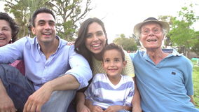 Slow Motion Shot Of Multi Generation Family Sitting In Park stock video footage