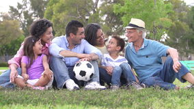 Slow Motion Shot Of Multi Generation Family With Soccer Ball stock footage