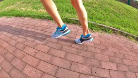 Side jogging legs. Slow Motion side running gym shoes training outdoor in the park for sunset jogging. side view on the country road stock video
