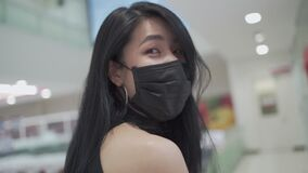SLOW MOTION smile under face mask of Young attractive Asian woman While walking inside grocery supermarket store during covid-19 c
