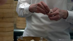 Slow Motion Team of chefs cooking traditional food. Chef making dumplings stock footage
