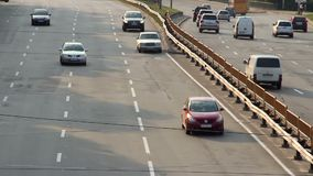 Slow motion timelapse city cars traffic, wide road vehicles, day. Stock footage stock video