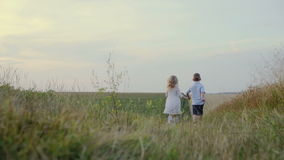 Slow Motion: Trim happy children running on field. Road holding hands stock footage