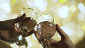Slow Motion Two Human Hands Clink Wine Glasses stock video