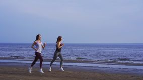 SLOW MOTION: Two women are jogging along the sandy bank of a large river. stock footage