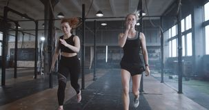 Slow motion two young beautiful athletic European women working out together doing aerobic exercise in atmospheric gym. Determined female athletes training in stock footage